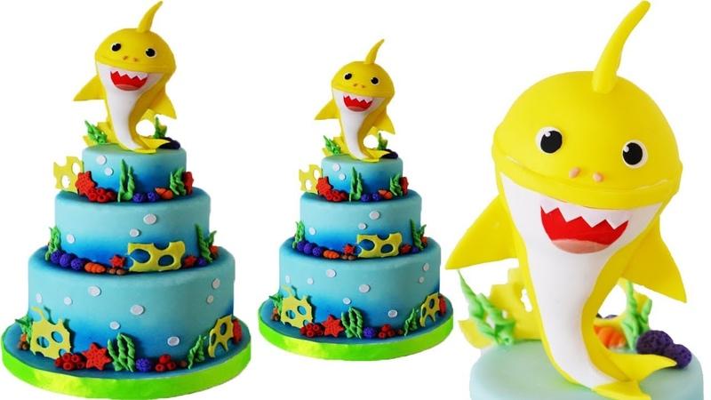 Baby shark cake cold porcellain tutorial - torta finta in porcellana fredda Nicron