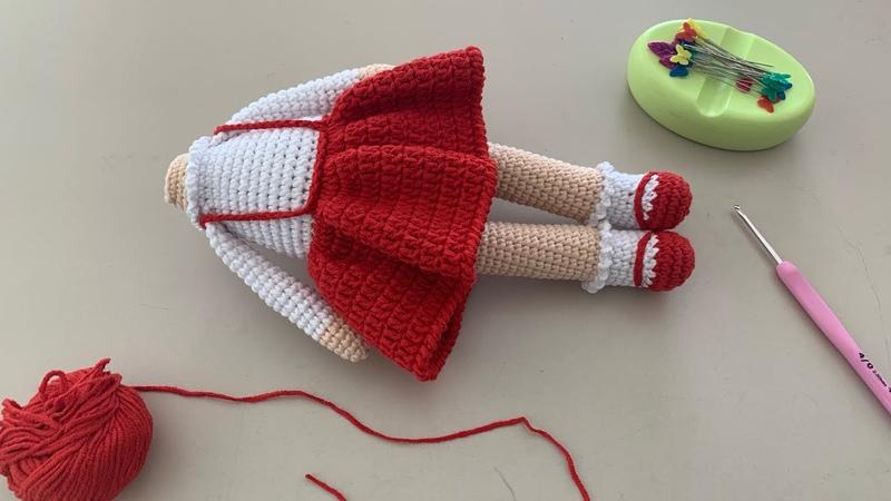 Amigurumi şirin bebek - kırmızı başlıklı kız-3. Bölüm kol ve etek yapımı 👧🏻