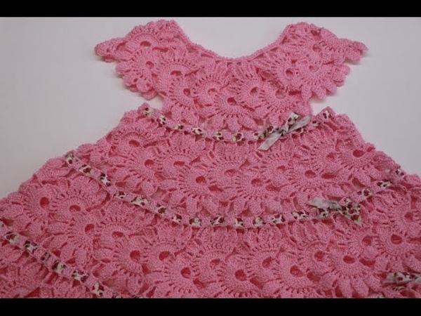 Vestido Crochet para Niña de 2 a 3 años parte 1 de 2