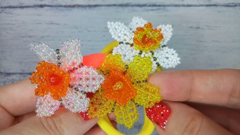 Резинки для волос Нарцисс Elastic bands for hair Narcissus Handmade decorations Natalia Istranina
