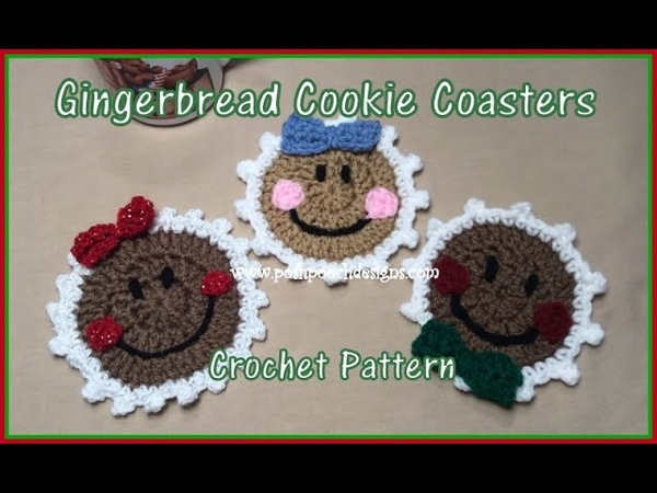 Gingerbread Cookie Coasters Crochet Pattern