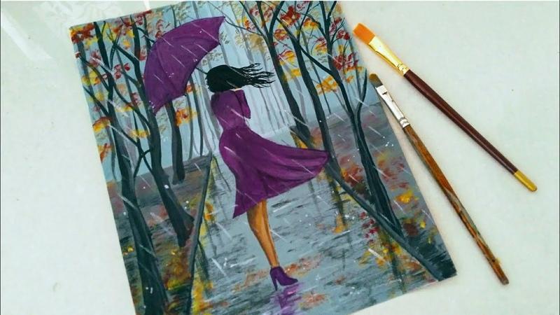 Easy Rainy season scenery drawing for beginners|| A girl walking in the Rain acrylic painting||
