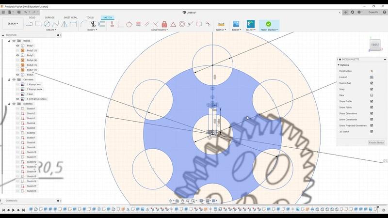8.4 Шестерня редуктора во Fusion 360 по чертежу.