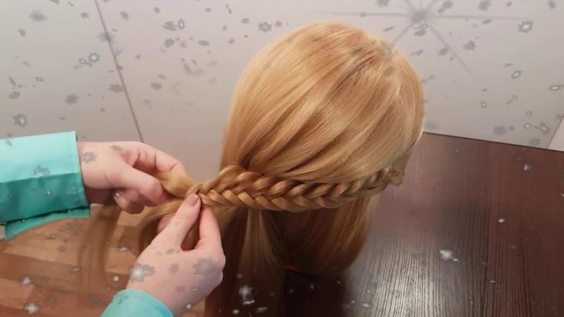 прическа косы модная вечерняя причёска из косичек любой праздник новый год выпускной день рождения