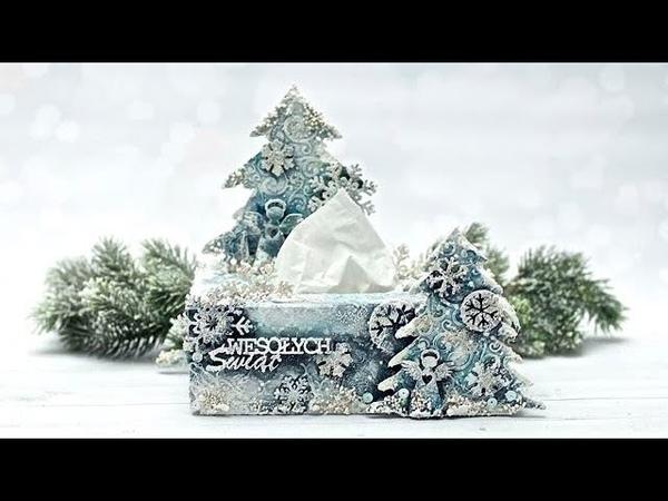 Chustecznik świąteczny mix media tutorial DIY