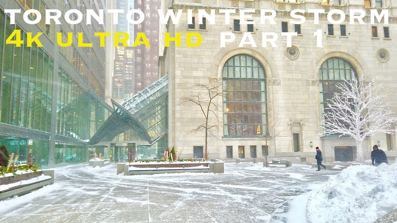 Winter storm downtown Toronto (walking tour 4k)