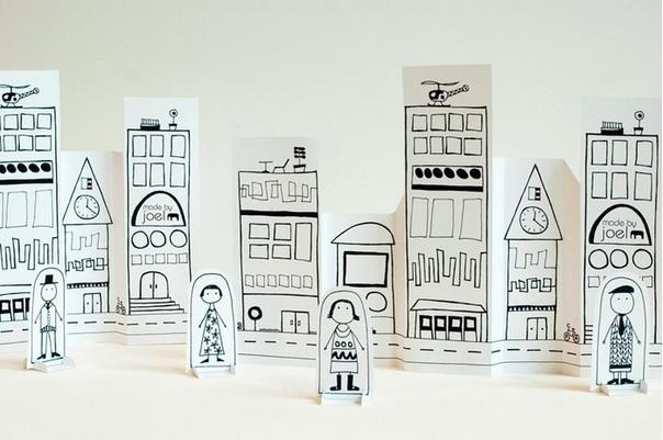 БУМАЖНЫЕ ГОРОДА СВОИМИ РУКАМИ Если вы более-менее умеете рисовать, то сможете подарить ребенку совершенно любой городок в его бумажном варианте. Как это делает художник Джоэль Энрикес ( для