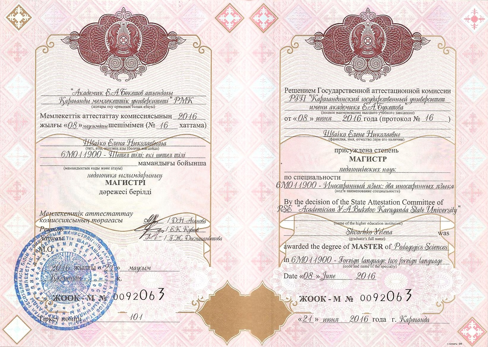 Диплом о присуждении степени магистра