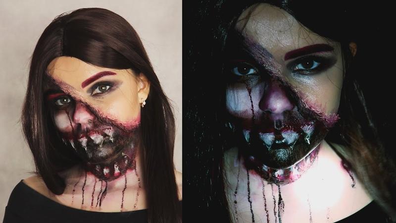 Макияж и Образ на ХЭЛЛОУИН 🦇 рваное лицо и много крови | Svetlana Di