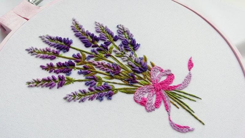 Hand Embroidery: Lavender flowers   Вышивка: Цветы Лаванды