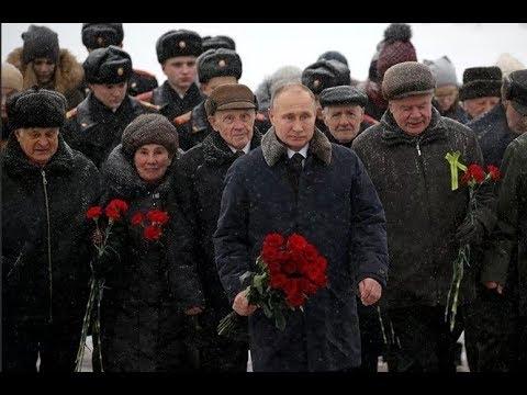 Возложение цветов на Пискаревском кладбище при участии Владимира Путина. Полное видео - Россия 24