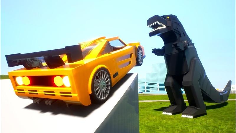Лего машинки прыгают над огромной Годзиллой в Brick Rigs!