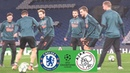 Van de Beek ALL SMILES As Ajax Train At Stamford Bridge