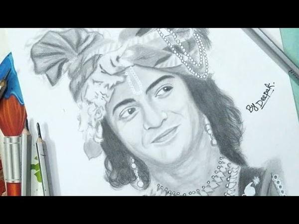 Drawing Sumedh Mudgalkar as Krishna From Radha Krishna TV serial Pencil Sketch