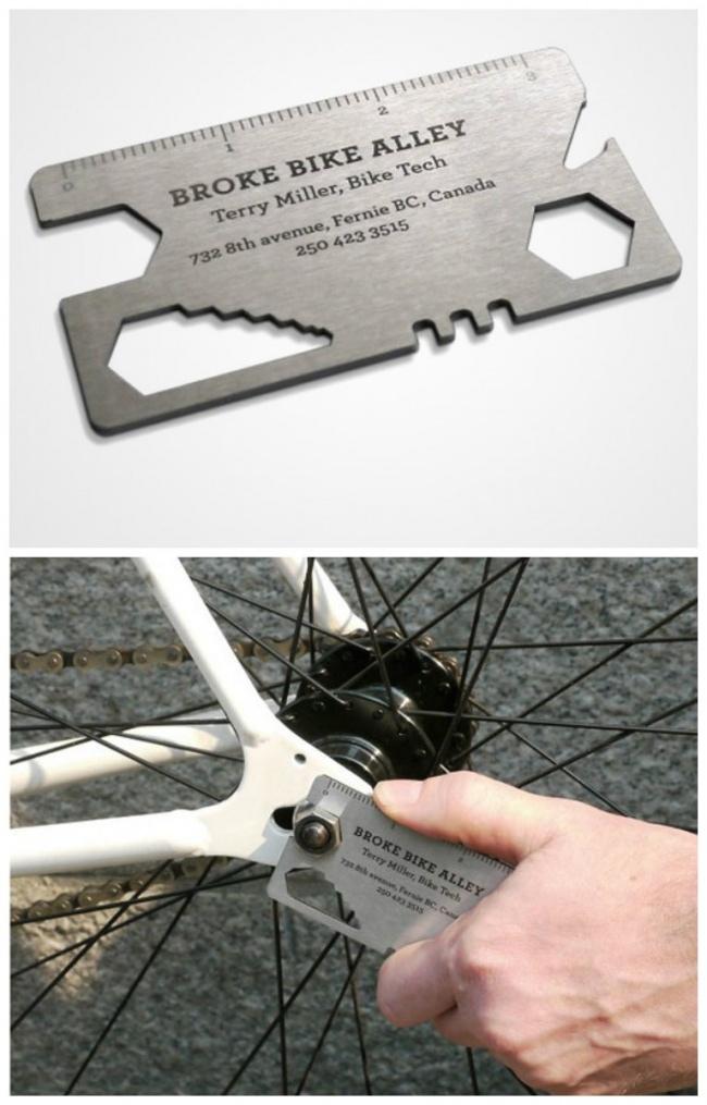 С помощью этой визитки можно даже велосипед починить