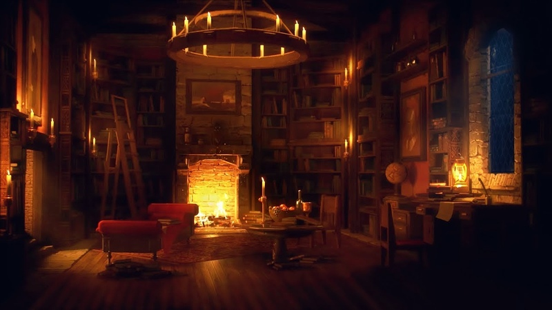 Ancient Library Room Relaxing Thunder Rain Sounds Crackling Fireplace