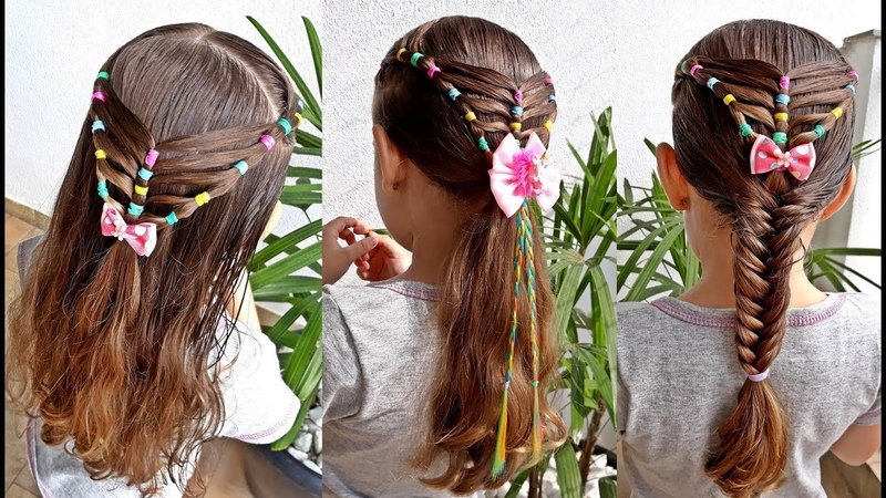 Penteado Infantil com ligas para cabelo solto com amarração ou trança escama de peixe