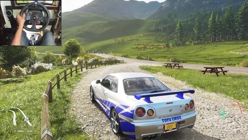 Nissan Skyline R34 GTR Forza Horizon 4 Logitech g29 gameplay