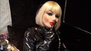 My talk in silicone female mask Candy in thigh high boots leather outfit and long gloves