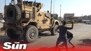 US troops pelted with rotten fruit and rocks near Syria Turkey border