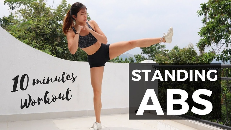 10 Minute Standing Abs Workout BURN BELLY FAT FOR SMALL WAIST No Mat Required