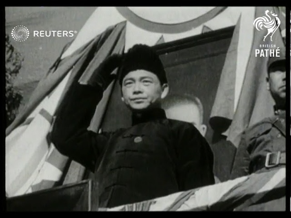 Marshal Chiang Kai Shek watches Chinese military parade 1937