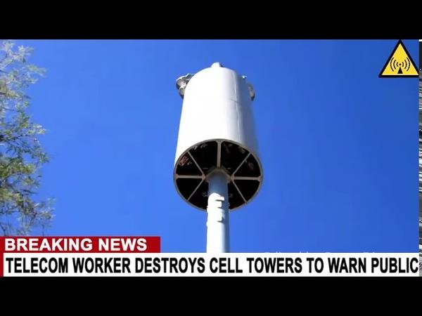 Telecom Mitarbeiter zerstört 5G Türme mit einem Panzer und warnt uns vor der Gefahr von 5G Englisch