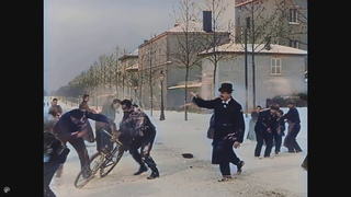[4K upscaled, 50fps, AI colorized] Snow battle. Lumiere brothers 1897.