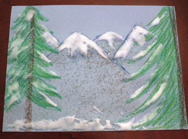 ЗИМНИЕ РИСУНКИ. ОБЪЕМНАЯ СНЕЖНАЯ КРАСКА Если смешать в равном объеме клей ПВА и пену для бритья (лучше брать без запаха), то получится замечательная воздушная снежная краска. Ей можно рисовать