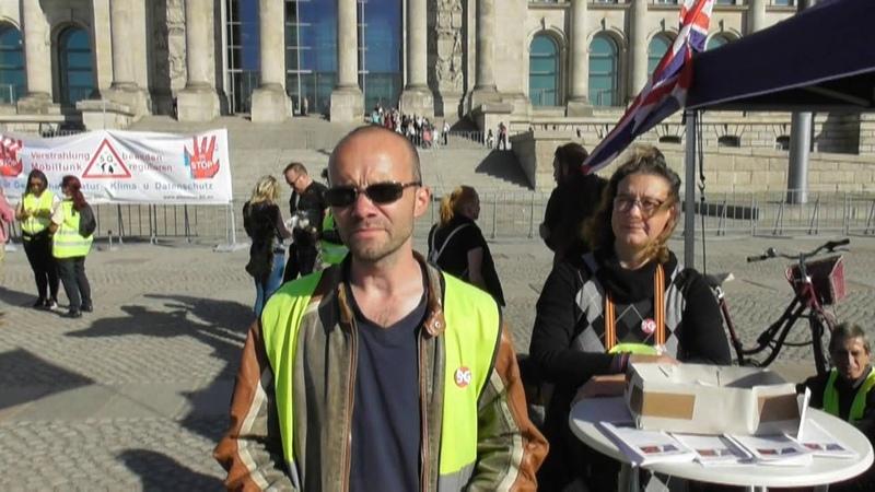 Stoppt 5G - Gelbe Westen Berlin und staatenlos.info am Reichstag 22.09.2019