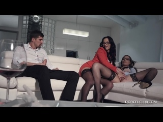 Carla Crouz  Rebeka in anal hot threesome [Brunette, High Heels, Stockings, Glasses, 3some, Anal, Cheating, Condom]