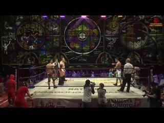 DoiYoshi (Masato Yoshino & Naruki Doi) & Shuji Kondo vs. . (Eita,  & Takashi Yoshida)
