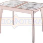 Стол кухонный Танго ПО МД ст-72 07 ВП МД, молочный дуб, растительный орнамент