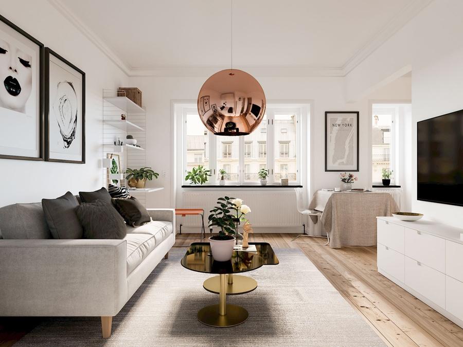Проект студийной квартиры 31 м в скандинавском стиле.
