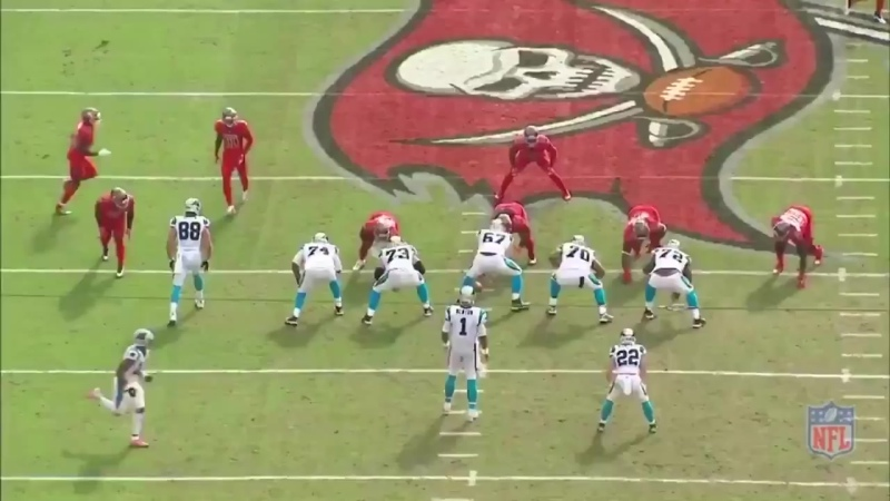 Christian McCaffrey rips off a 53y run with patient running behind great blocks.