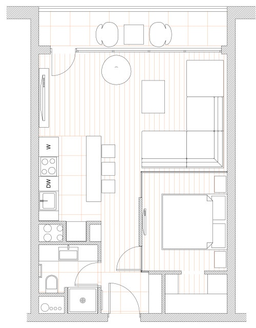 Интерьер квартиры 43,4 кв.