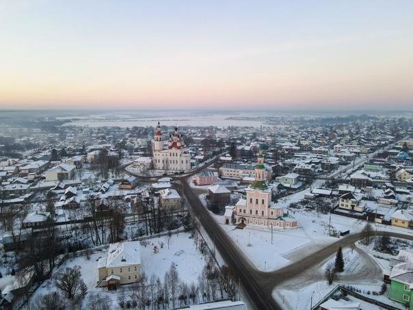 Тотьма Вологодской области с высоты птичего полёта неделю назад.