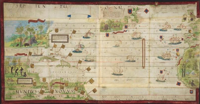 Атлантика. Карта из Атласа Миллера (1519)