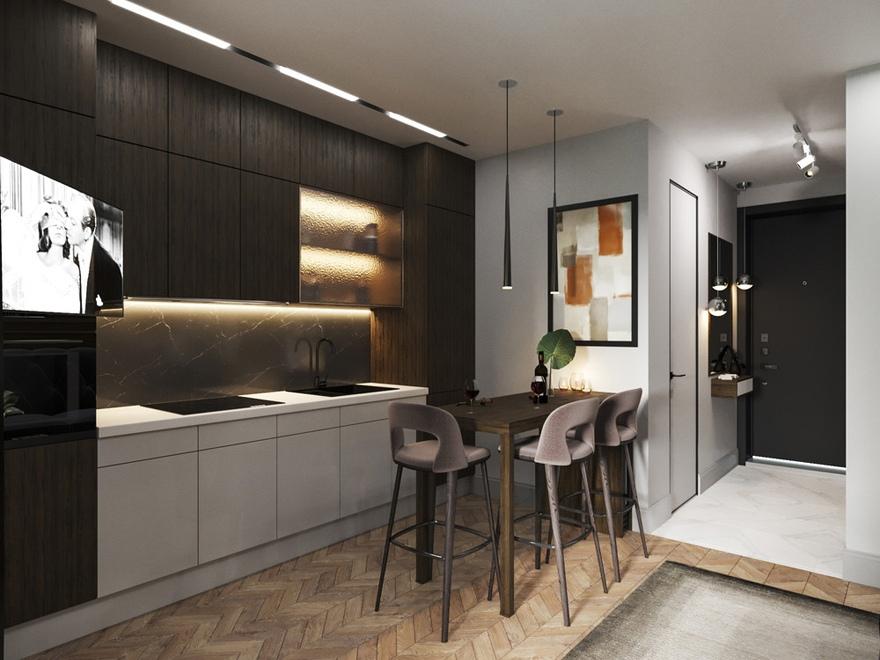 Дизайн-проект студии 28,5 м (в том числе лоджия 4,5 м) для молодого человека.