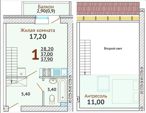 Что выберете: стандартную или двухуровневую студию равной площади?