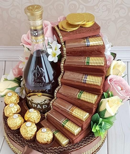 Как сделать конфетную композицию для мужчины своими руками, что подарить мужчине, подарки из конфет для мужчин,