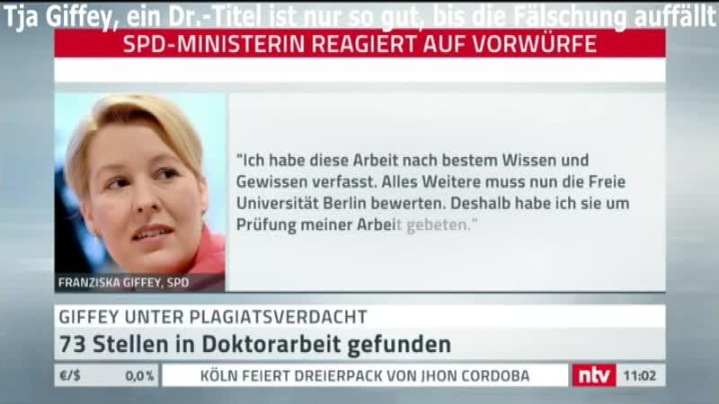 Schon wieder die SPD - nur Lügner, Betrüger, Fälscher | Heute: Giffey und ihre Dr.-Arbeit...