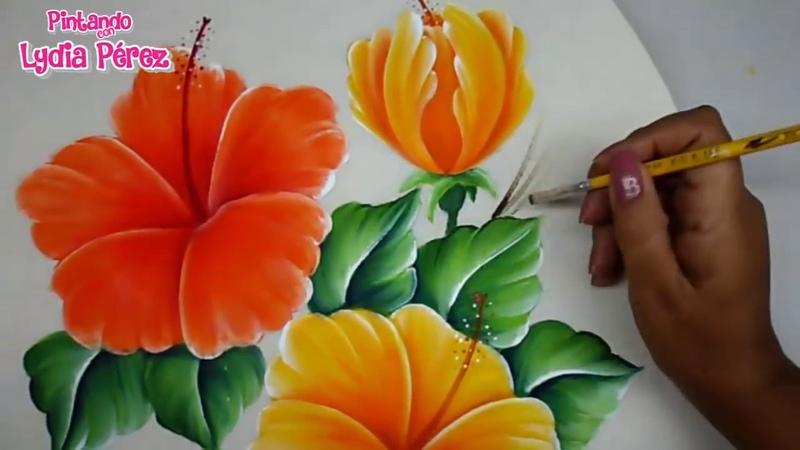 Pintura En Tela Como Pintar Flores Fácil Hibiscos How To Pait Hibiscus Flower