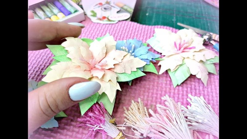 Бумажные цветы своими руками Нежная Пуансетия Скрапбукинг Мастер класс