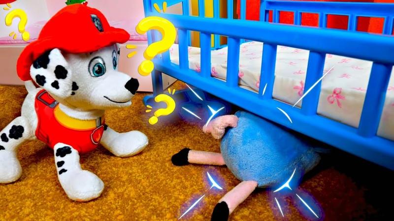 La Patrulla Canina y George juegan al escondite. Juguetes de Peppa Pig. Vídeos para niños pequeños
