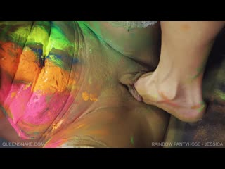 Rainbow Pantyhose - Jessica - QS, Jessica  BDSM, fisting, dikdo, feet fisting
