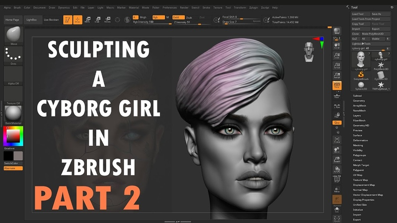 Sculpting A Cyborg Girl in Zbrush Part 2
