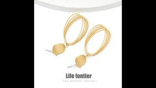 Lifefontier матовые геометрические золотые металлические висячие серьги овальные полые массивные